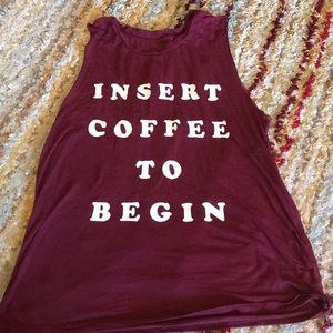Insert coffee to begin dark red tank